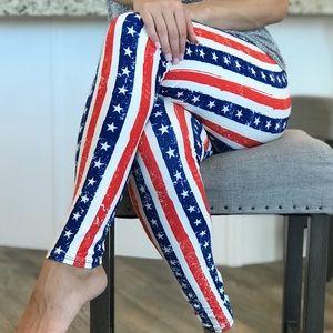 86a2fea2807 Pants - Buttery soft Americana Flag July 4th Leggings OS